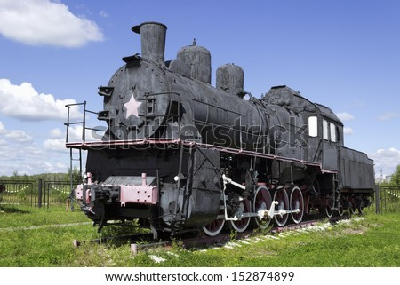 Russian steam locomotive in the early 20th century, the most massive in the world series, produced about 11 000 locomotives - stock photo