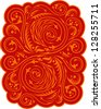 Russian style floral pattern in red and orange. Raster image. Find an editable vector version in my portfolio. - stock photo