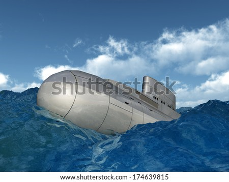 Russian Submarine from the 1980s in the stormy ocean Computer generated 3D illustration - stock photo