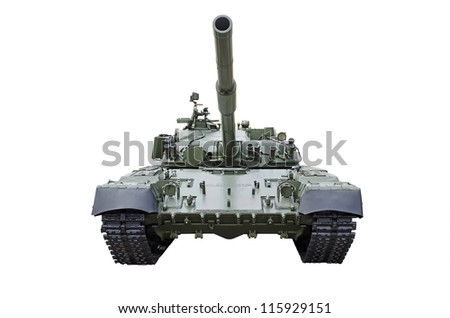Russian tank, isolated over white - stock photo