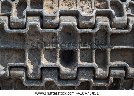 russian tank track caterpillar mud background texture pattern closeup - stock photo