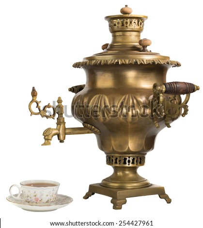 Russian tradition, samovar, kettle, tea, old, antique - stock photo