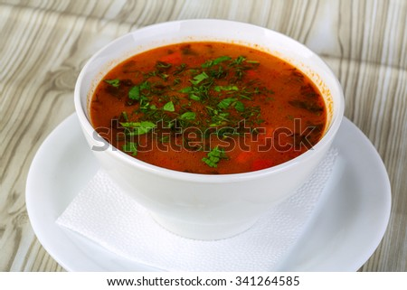 Russian traditional cabbage soup - Borscht with herbs and meat