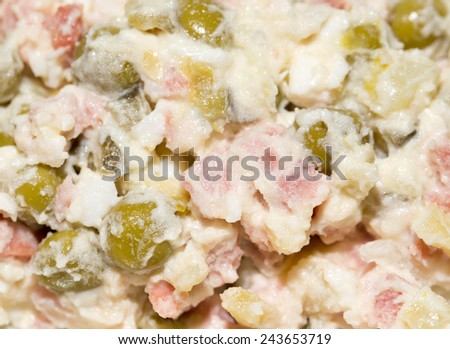 Russian traditional olivier salad, close-up