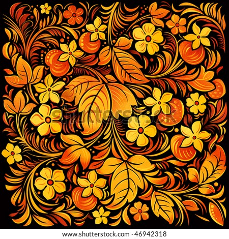 Russian traditional ornamental background - stock photo