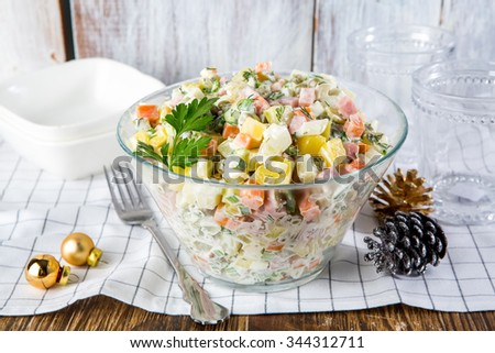Russian traditional salad Olivier - stock photo