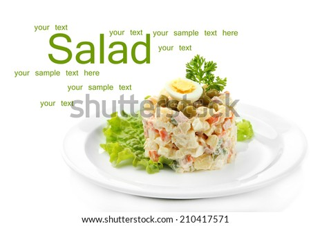 Russian traditional salad Olivier, isolated on white - stock photo