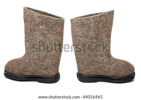 Russian traditional winter felt boot valenki shoes - stock photo