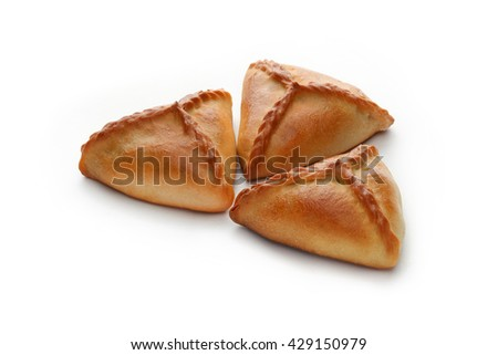 Russian triangle pie, isolated on white