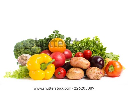Russian vegetables isolated on a white background - stock photo