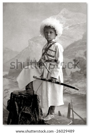 Russian vintage portrait, beginning of XX century - stock photo