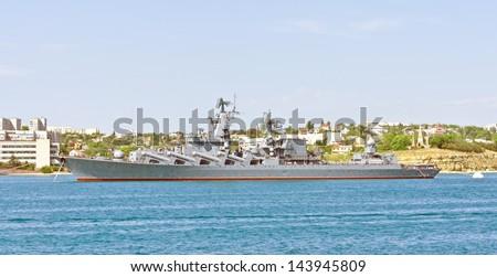 Russian warship in the Bay, Sevastopol, Crimea, Ukraine - stock photo