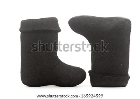 Russian winter felt boot valenki - stock photo