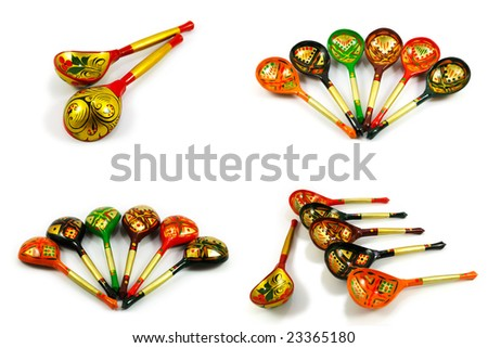 Russian wooden spoons isolated on white. Set of four pictures. - stock photo