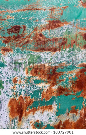 Rust And green Peeling Paint Background - stock photo
