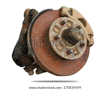 Rust brake disk and detail isolated on white - stock photo