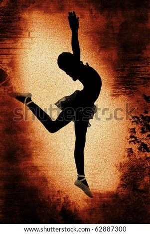 Rust colored vintage grunge distressed background illustration with dancer ballerina silhouette. - stock photo