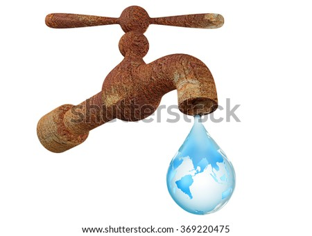 Rust faucet with water drop isolated on white background - stock photo