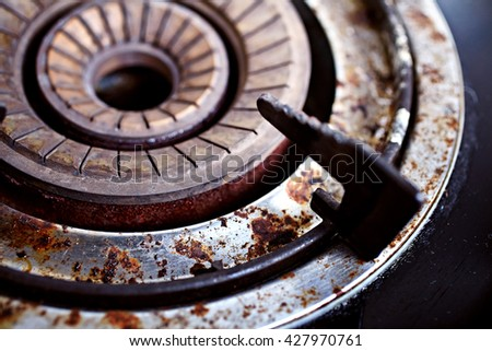 Rust gas stove ,Old ,Dirty ,Old gas burner, Close-up - stock photo