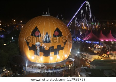 RUST, GERMANY - OCTOBER 31: Halloween party SWR 3, Halloween party at the Europa Park in Rust, Germany. October 31, 2012. - stock photo