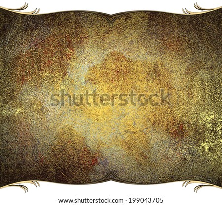 rust metal plate with gold trim - stock photo