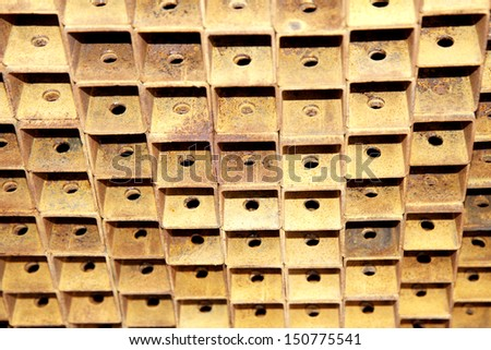 Rust steel channel bunch in warehouse