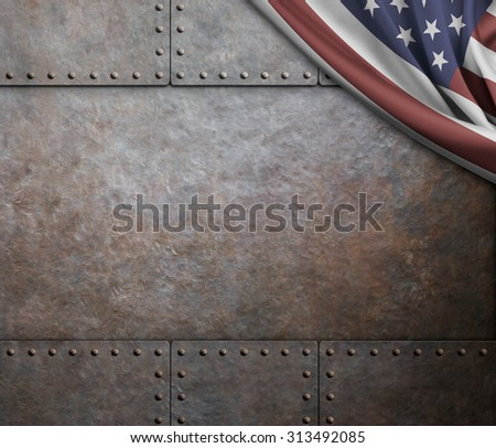 rust steel metal texture with rivets as steam punk background - stock photo