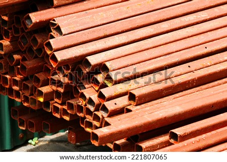 Rust steel pipes bunch