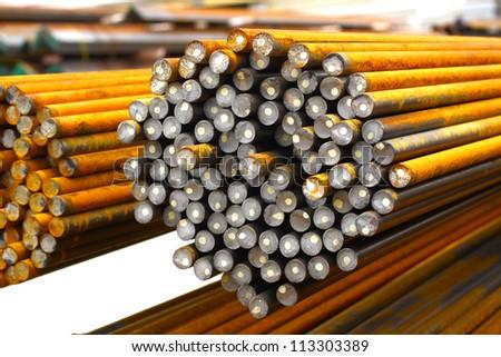 Rust steel rod in warehouse. - stock photo