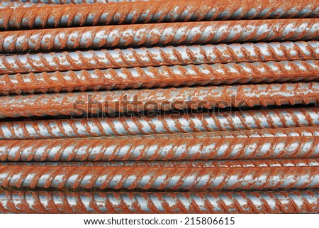 Rust steel rods or bars for construction - stock photo