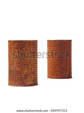 Rust tin cans isolated on white background. Rusting metal gives any project an old, country look that's appealing. - stock photo