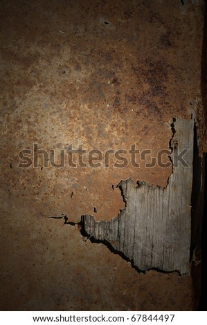 Rust Zinc coated sheet old timber corrosion over time until you see the wood - stock photo