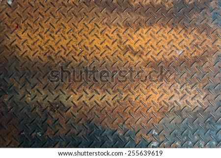 Rusted aluminium floor texture background - stock photo