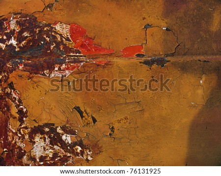 Rusted and painted metal - stock photo