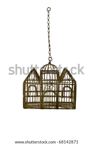 Rusted Antique Birdcage isolated on white - stock photo