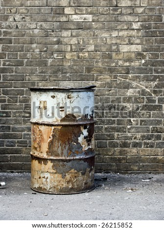 Rusted Barrel in Toronto Alleyway - stock photo