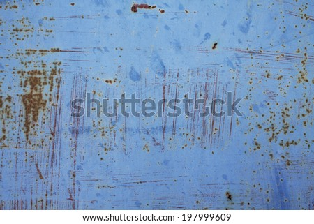Rusted blue painted metal wall. Detailed photo texture - stock photo