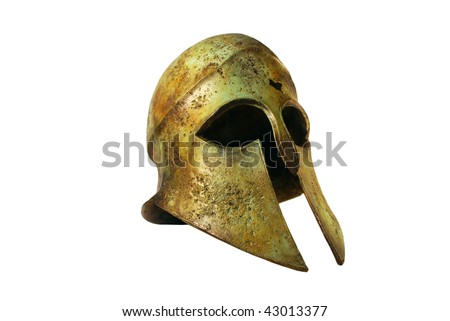 Rusted Bronze Greek Helmet Isolated on White - stock photo