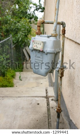 Rusted Gas Meter - stock photo