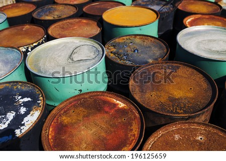 Rusted Industrial Barrels - stock photo
