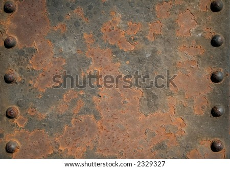 Rusted metal - close up of iron pins in a bridge. - stock photo