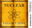 rusted nuclear fallout zone sign - stock photo