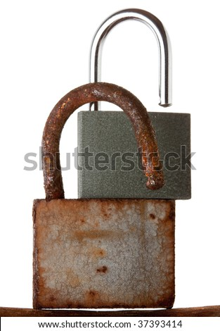 Rusted old hanging lock