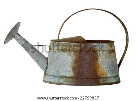 rusted old watering can isolated on white background - stock photo