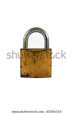 Rusted Open Padlock, isolated on white background - stock photo