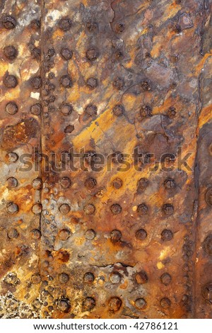 rusted plate on shipwreck at Moreton Island Australia - stock photo