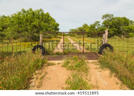Rusted Ranch Gate over cattle gap with mesquite trees, wildflowers, and dirt road. - stock photo