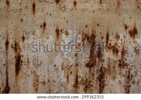 Rusted stains on steel water tank - stock photo