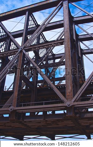 Rusted steel girders hold up a railroad bridge in Pittsburgh, Pennsylvania. - stock photo