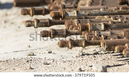 Rusted sucker rod of Crude oil pump- close up - stock photo